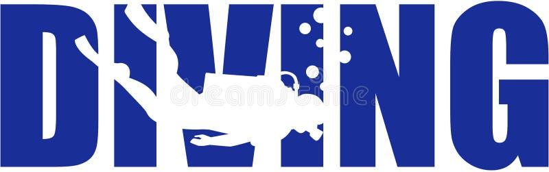 Mot de plongée à l'air avec la silhouette illustration de vecteur