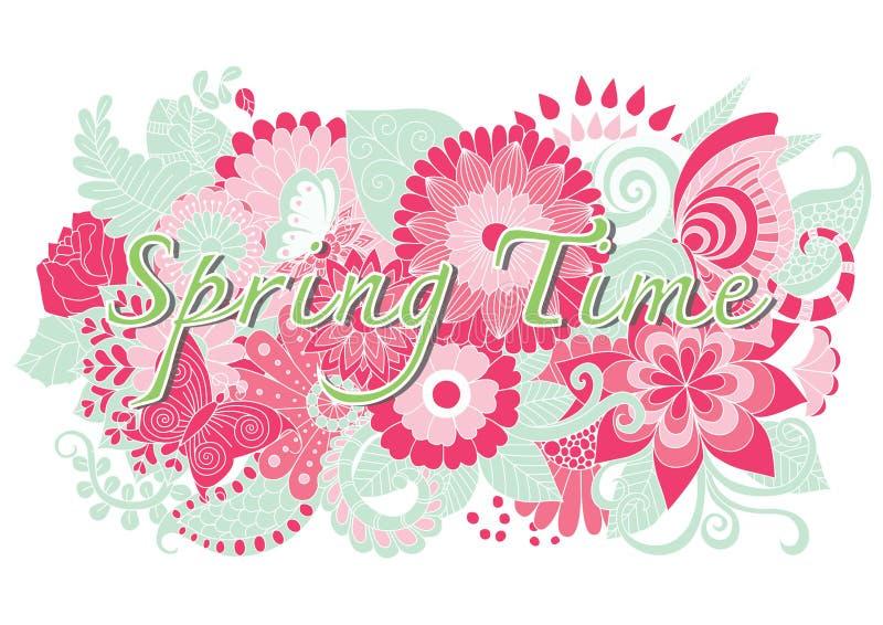 Mot de printemps avec les fleurs et le papillon tirés par la main de mandala illustration stock