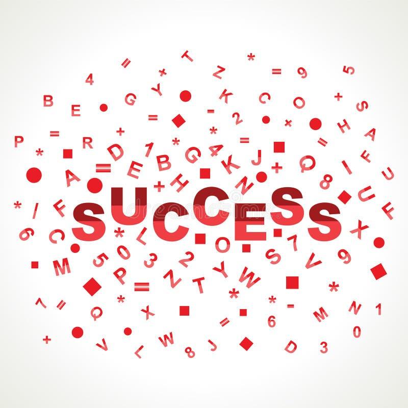 Mot de réussite avec dans des alphabets illustration libre de droits