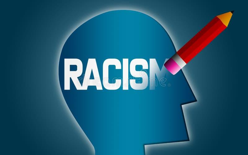 Mot de racisme d'effacement de tête humaine illustration libre de droits