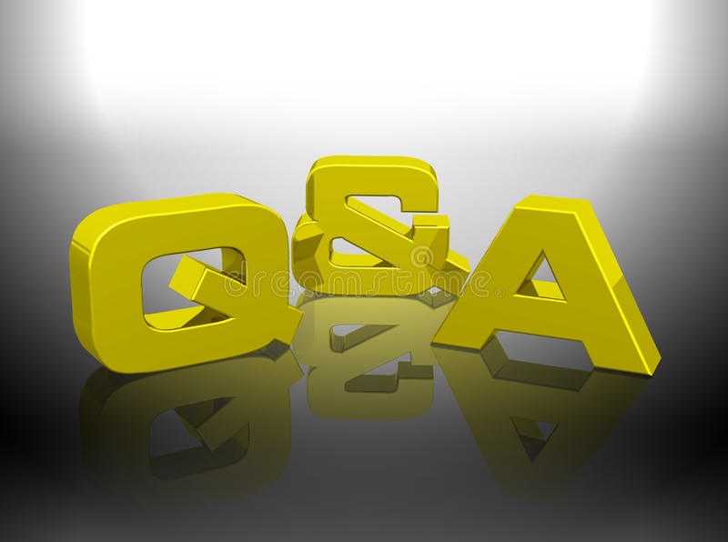 Mot de rendu d'or de Q&A 3D illustration libre de droits