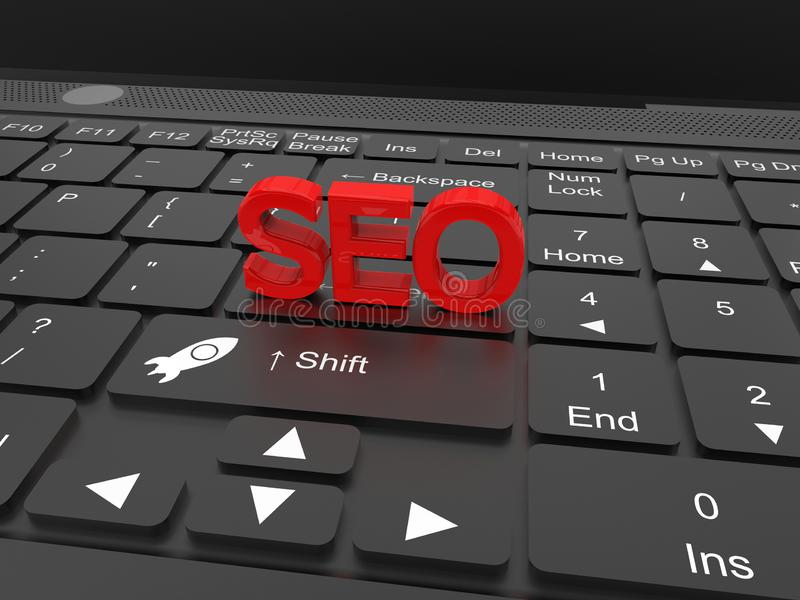 Mot de SEO sur l'ordinateur portable - optimisation de moteur de recherche illustration libre de droits
