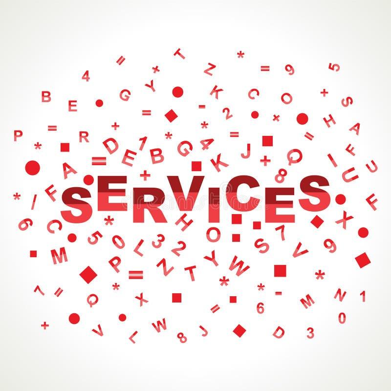 Mot de services avec dans des alphabets illustration stock