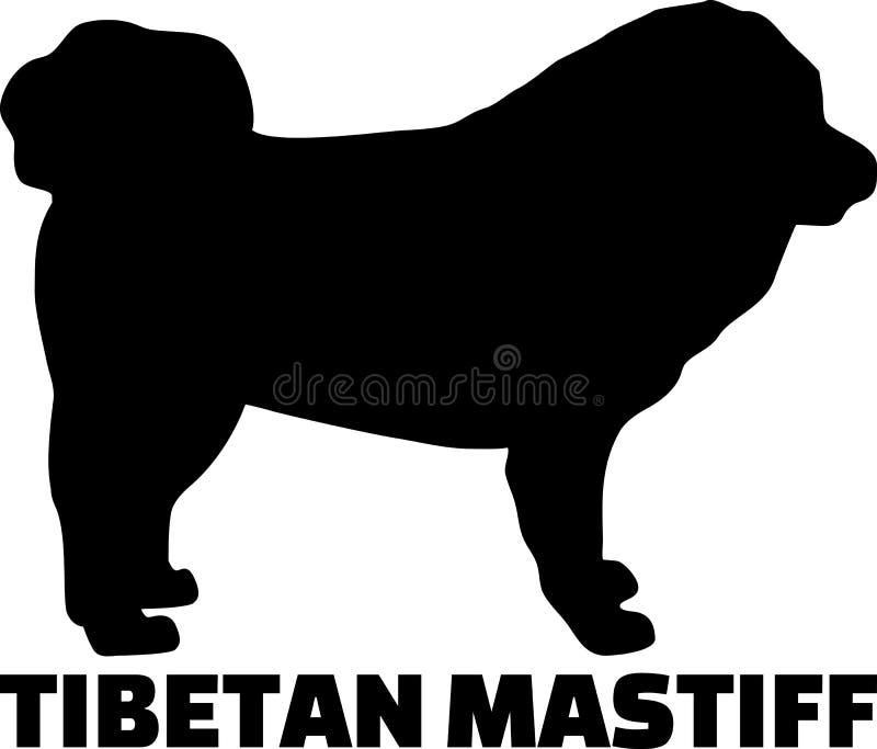 Mot de silhouette de mastiff tibétain vrai illustration libre de droits