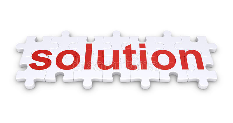 Mot de solution fait de morceaux de puzzle illustration stock