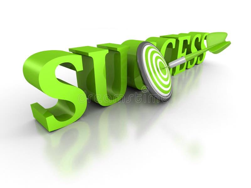 Mot de SUCCÈS avec la flèche verte de dard au centre de la cible illustration stock