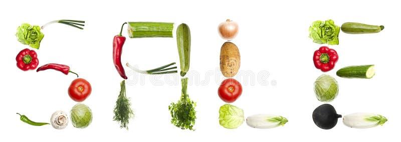 Mot de vente fait de légumes image stock