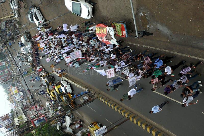 mot den korruptionindia marschen arkivfoto