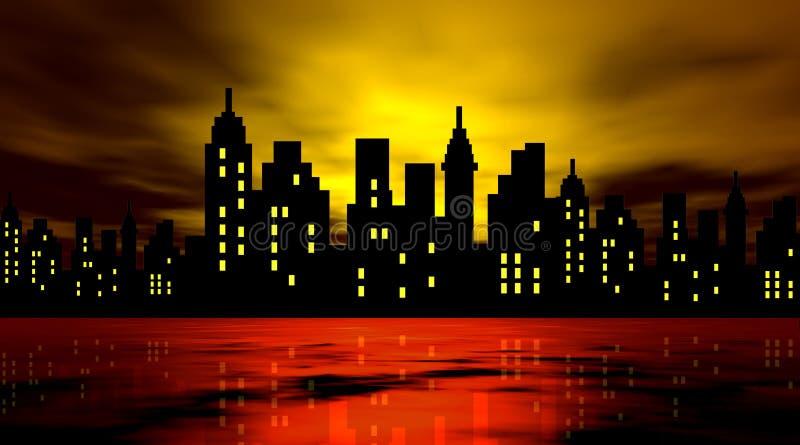 mot den stylized stadsnatten royaltyfri illustrationer