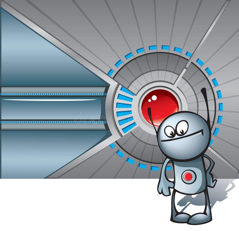 mot den teknologiska gulliga roboten för bakgrund stock illustrationer