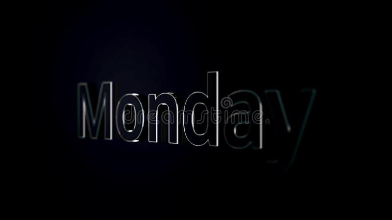 Mot des textes de lundi glissant sur le fond noir et brillant, animation 3D Argent, animation des textes 3D du mot lundi illustration stock