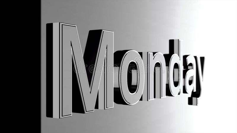 Mot des textes de lundi glissant sur le fond noir et brillant, animation 3D Argent, animation des textes 3D du mot lundi illustration de vecteur