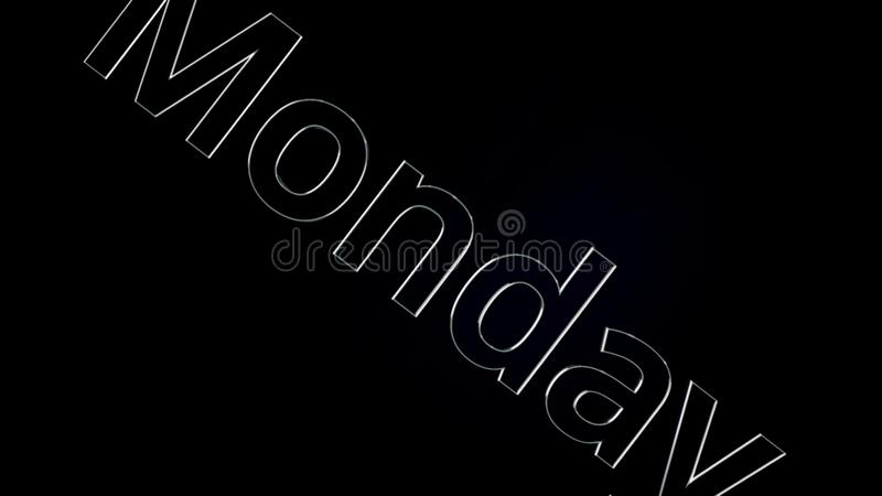 Mot des textes de lundi glissant sur le fond noir et brillant, animation 3D Argent, animation des textes 3D du mot lundi illustration libre de droits