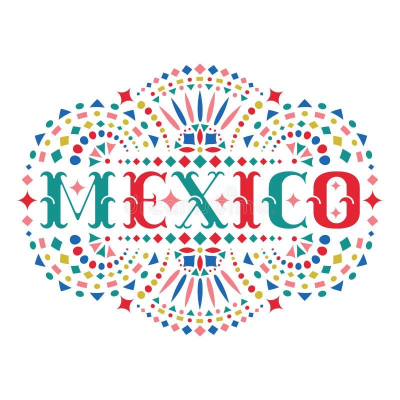 Mot du Mexique et motif mexicain fleuri de broderie illustration stock