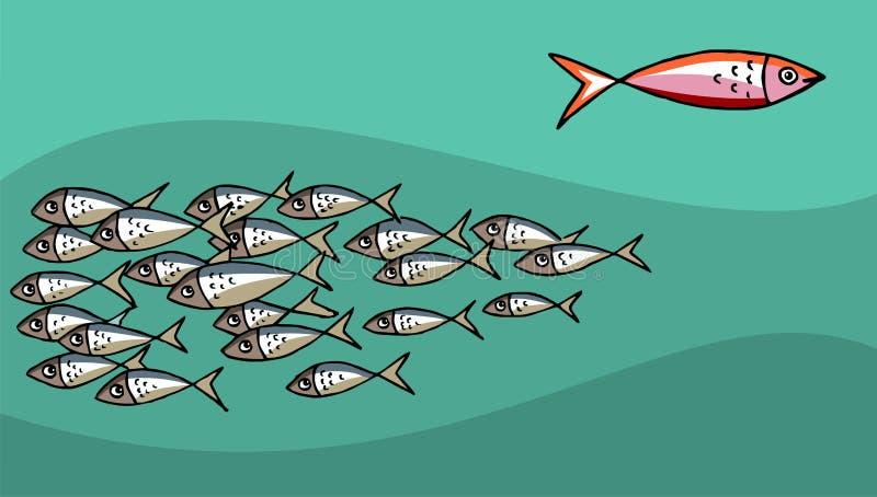 mot fisksimningtide royaltyfri illustrationer