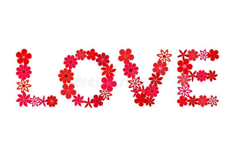 Mot floral d'AMOUR de mosaïque dans la couleur rouge illustration libre de droits