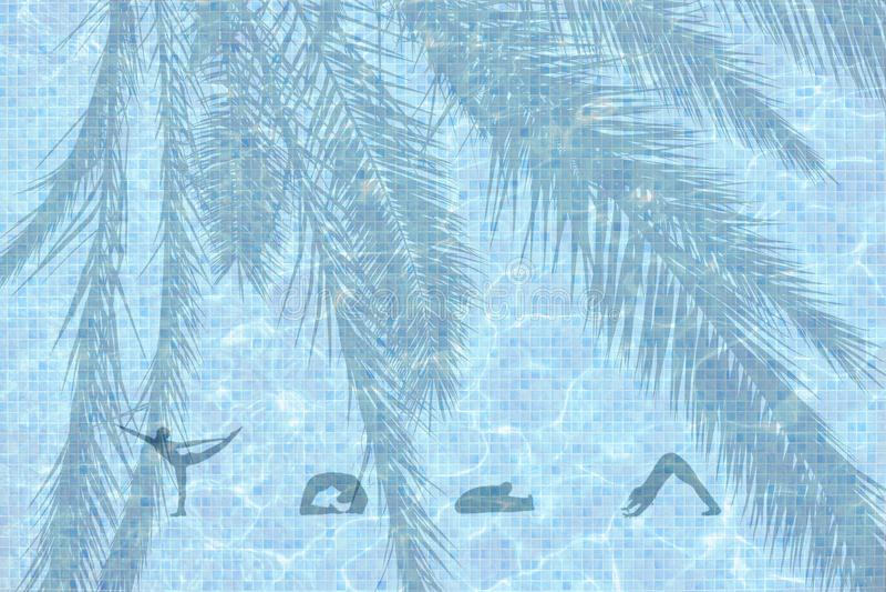 Mot illustré de yoga avec des chiffres à l'arrière-plan de poses photos libres de droits