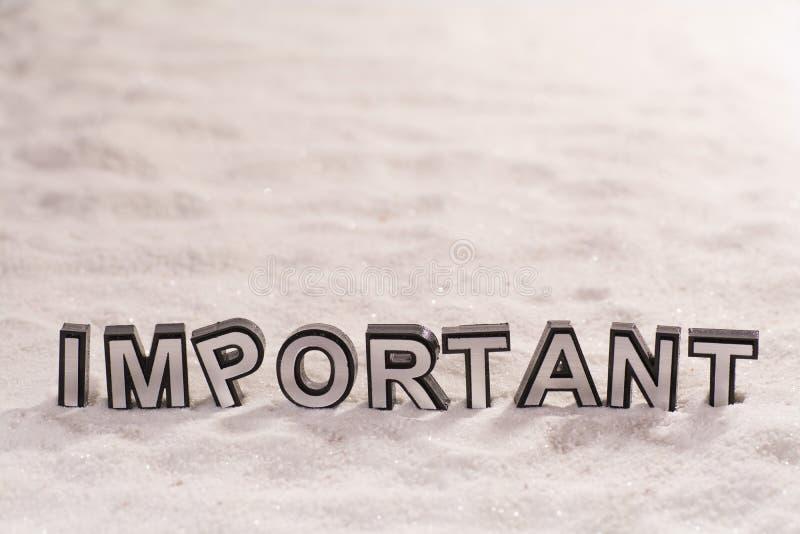 Mot important sur le sable blanc images libres de droits