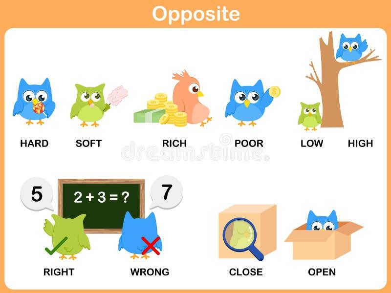 Mot opposé pour l'école maternelle illustration stock