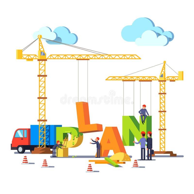Mot PLAN de bâtiment de chantier de construction d'affaires illustration stock