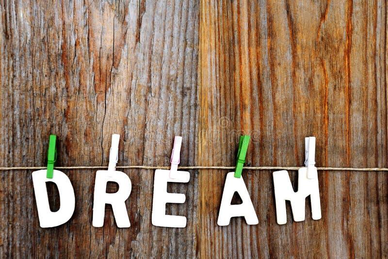 Mot rêveur sur le fond en bois photo libre de droits
