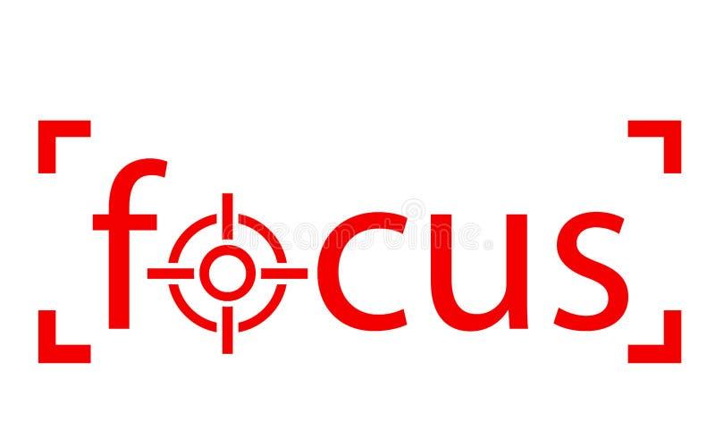 Mot rouge de foyer avec l'icône de portée illustration stock