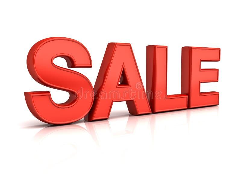 mot rouge de la vente 3d au-dessus du fond blanc avec la réflexion et l'ombre illustration stock