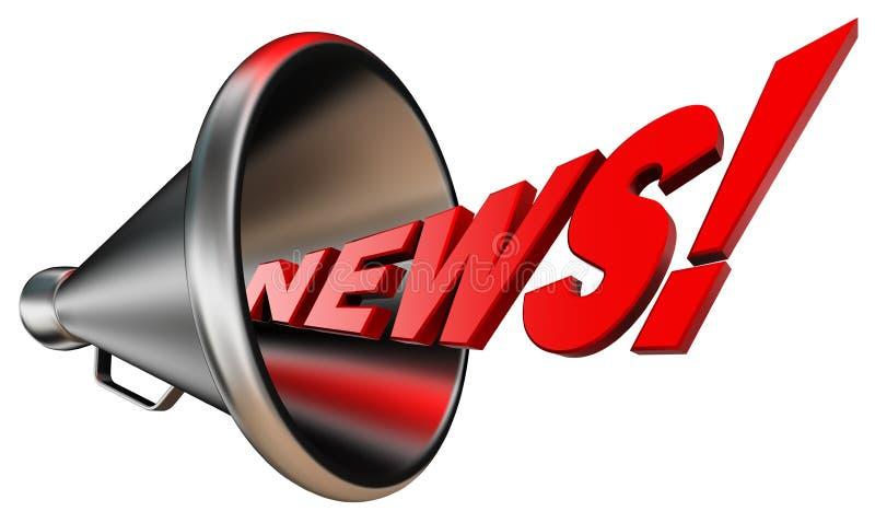 Mot rouge de nouvelles et corne de brume en métal illustration de vecteur