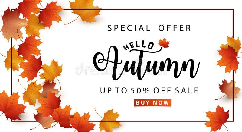 mot rouge de vente de lames d'automne photo stock