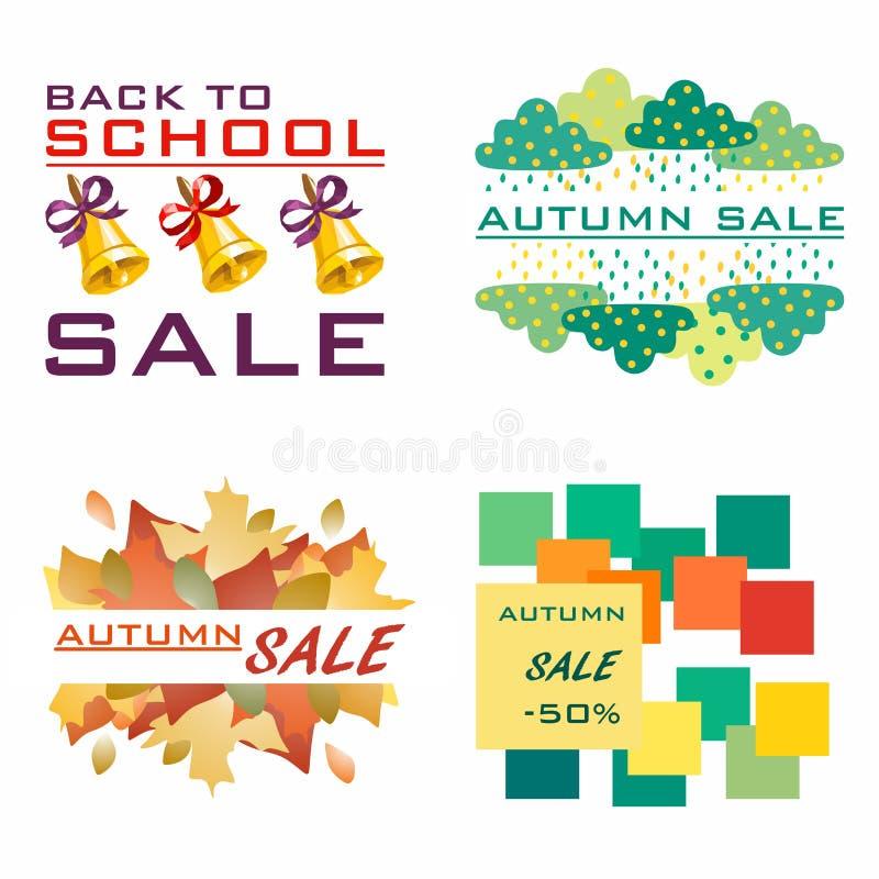 mot rouge de vente de lames d'automne Différents logos à vendre Calibre à vendre Calibre pour des cartes d'automne d'école images stock