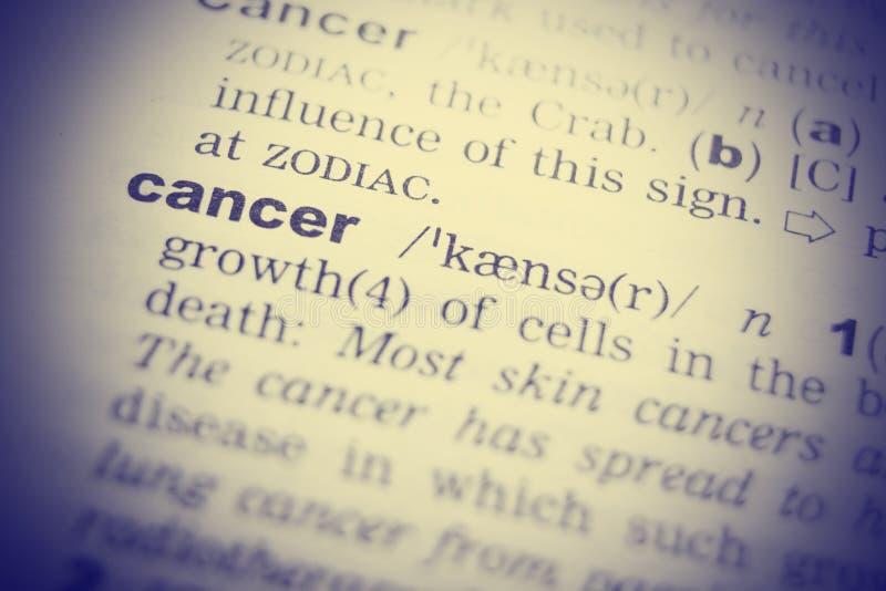 Mot simple de définition de dictionnaire de Cancer Image modifiée la tonalité photos stock