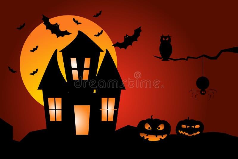 mot slagträn spökade fulla halloween plats för husmoonpumpa Illustration av ett spökat hus med pumpor, ugglan, slagträn och spind vektor illustrationer