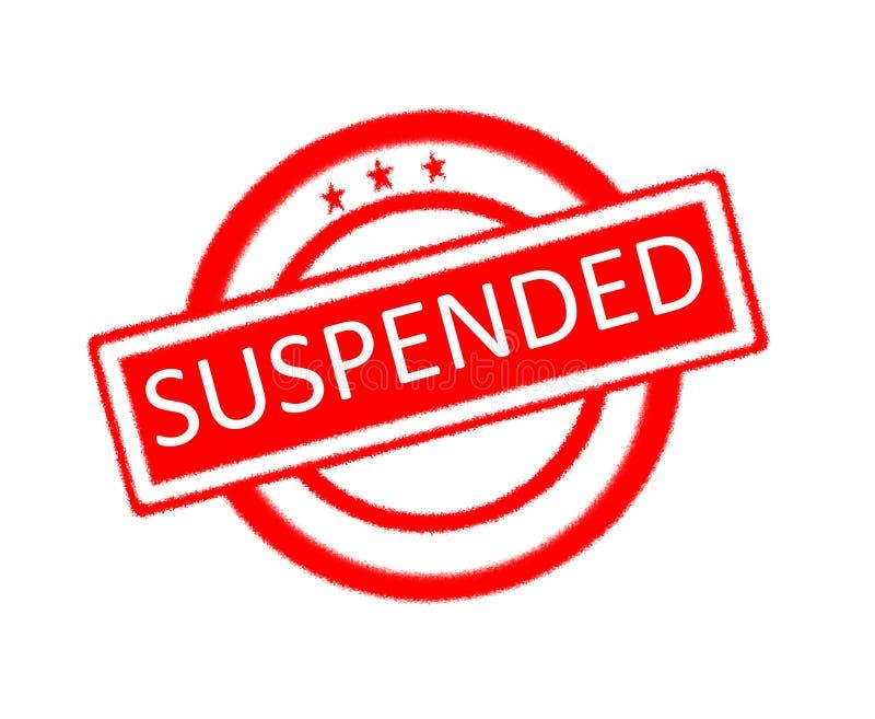 Mot suspendu écrit sur le tampon en caoutchouc rouge illustration libre de droits