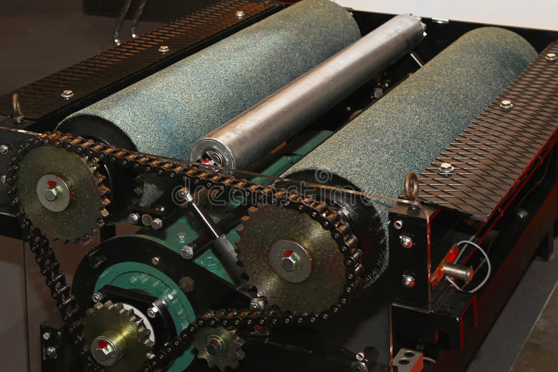 MOT test rollers. Brake MOT test equipment rollers with chain drive stock image
