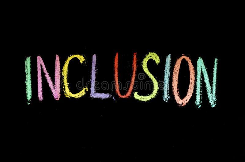"""Mot tiré par la main """"inclusion """"sur le tableau images stock"""