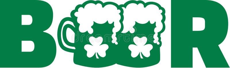 Mot vert de bière avec deux tasses et trèfles de bière illustration libre de droits