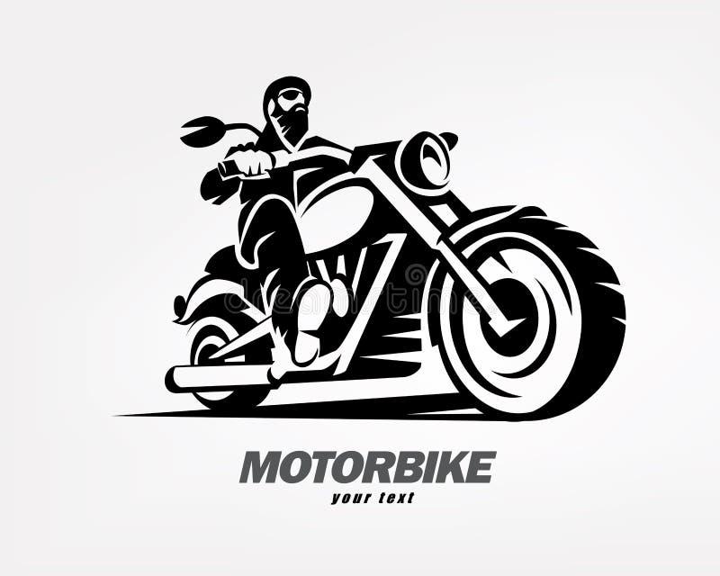 Motard, silhouette grunge de vecteur de moto illustration libre de droits