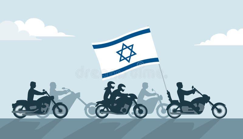 Motards sur des motos avec le drapeau de l'Israël illustration de vecteur