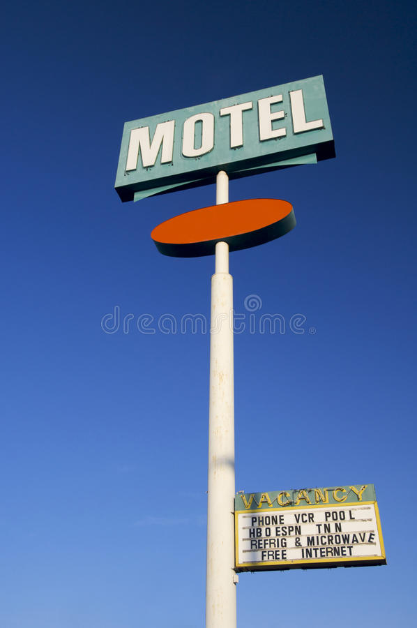 Motel. Poster green motel with clear sky royalty free stock image