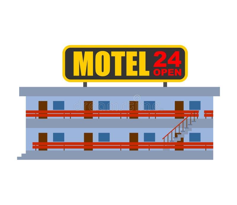 Motel aislado Pequeño ejemplo barato del vector del hotel ilustración del vector