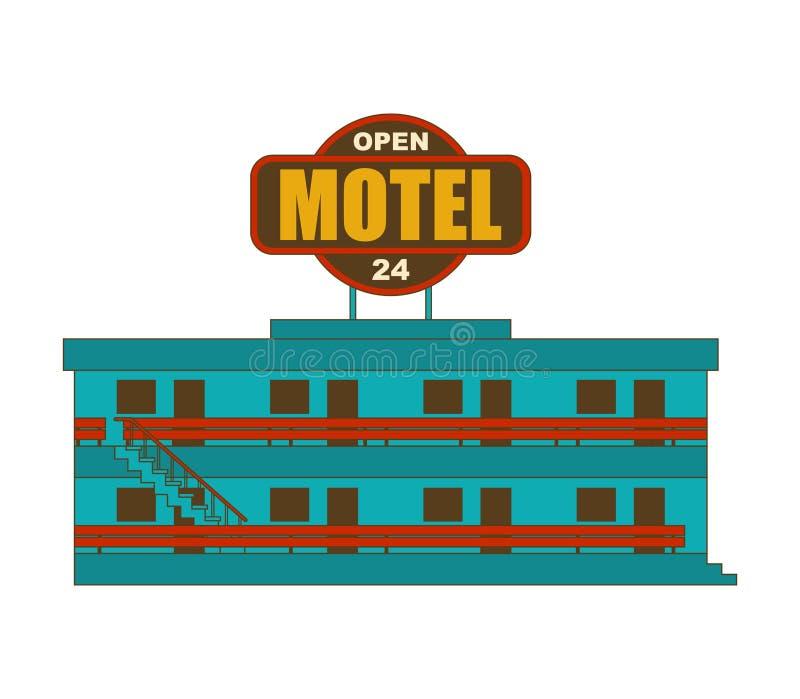 Motel aislado Pequeño ejemplo barato del vector del hotel stock de ilustración