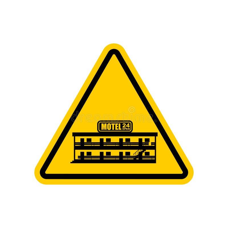 Motel de la atención Mini hotel del peligro Señal de tráfico amarilla de la precaución VE libre illustration