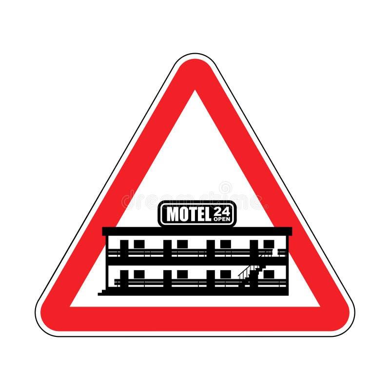 Motel de la atención Mini hotel del peligro Señal de tráfico roja de la precaución Vecto ilustración del vector