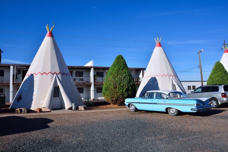 Motel de tipi sur l'itinéraire historique 66 images libres de droits