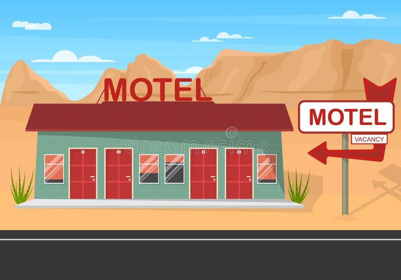 Motel del borde de la carretera de la historieta en un fondo del paisaje Vector libre illustration