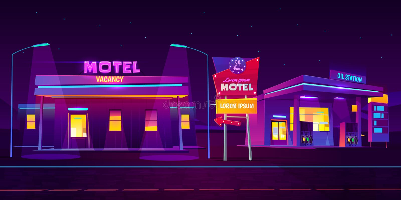 Motel del borde de la carretera de la noche con la estaci?n del aparcamiento y del aceite libre illustration