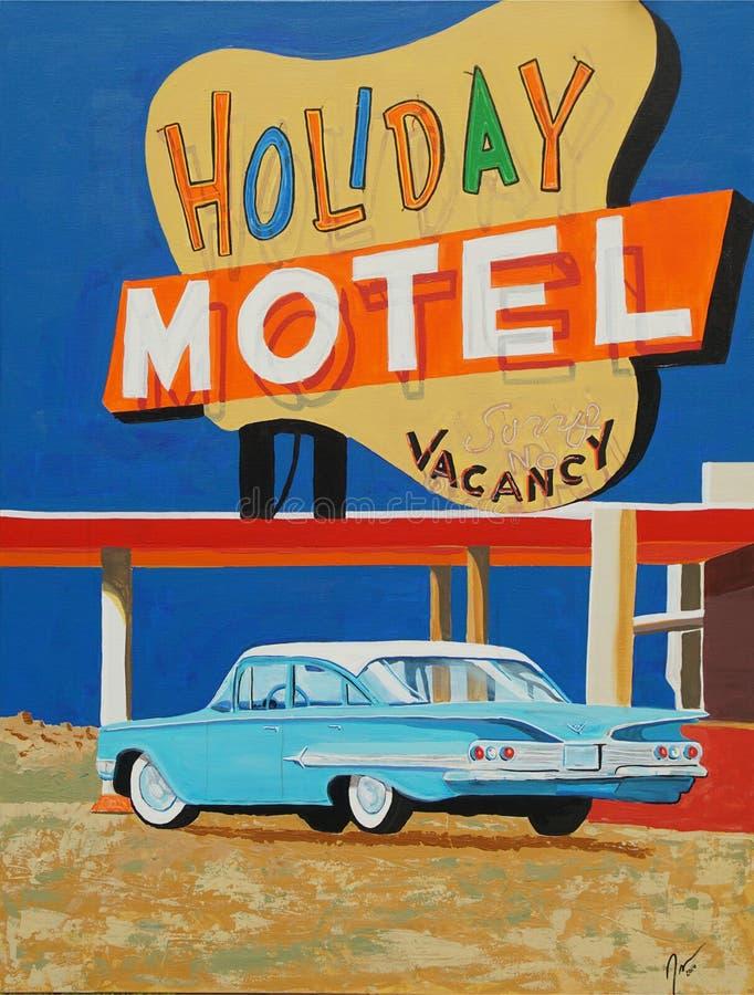 Motel del día de fiesta con la pintura clásica del coche fotografía de archivo libre de regalías