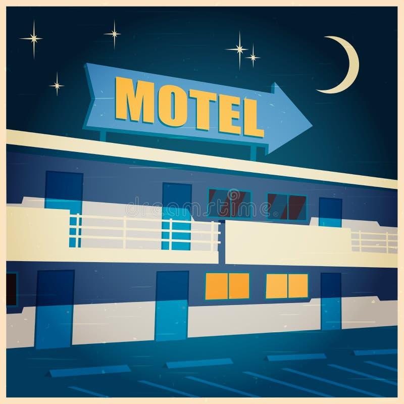 Motel en el cartel viejo de la noche ilustración del vector