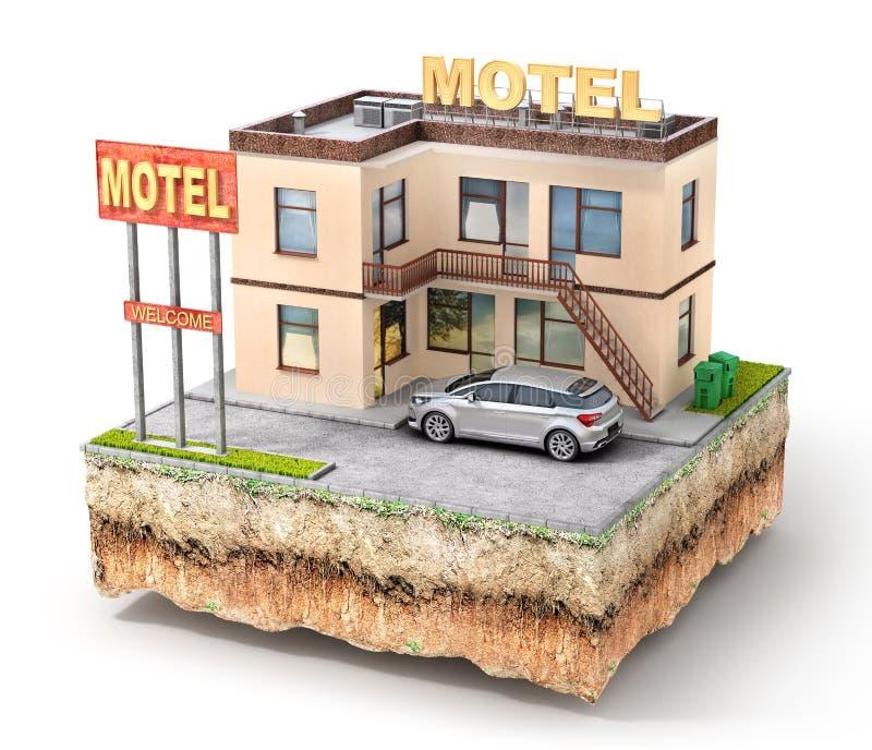 Motel en el pedazo de aislamiento de tierra en un blanco ilustración 3D ilustración del vector