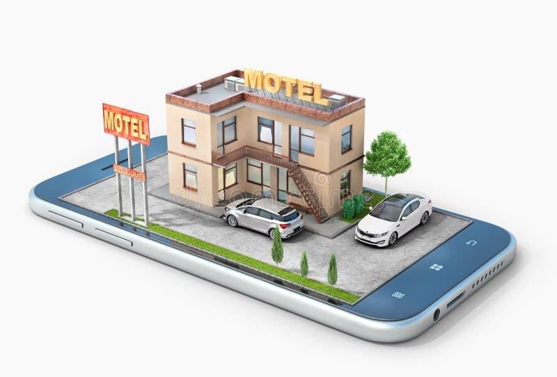 Motel en la pantalla del aislamiento del teléfono en un blanco stock de ilustración